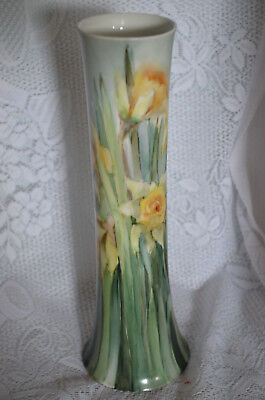 1885 Antique Vase Hand Painted Daffodils on Blue Ground