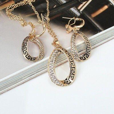 KQ_ Vintage Women Rhinestone Waterdrop Pendant Necklace Earrings Chain Jewelry S