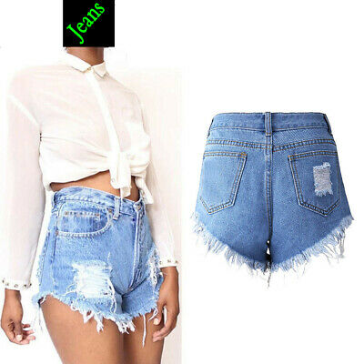 Girls Vintage Ripped Womens High Waisted Stonewash Denim Shorts Jeans Hot Pants^