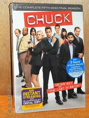 Chuck Season 5 (DVD, 2012, 3-Disc) TV Series action comedy Zachary Levi fifth