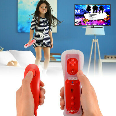 Motion Plus Remote And Nunchuck Controller+Case Set For Nintendo Wii Red AC1024