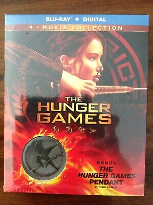 NEW The Hunger Games Complete 4 Film Collection (Blu-ray+Digital) w/Pendant