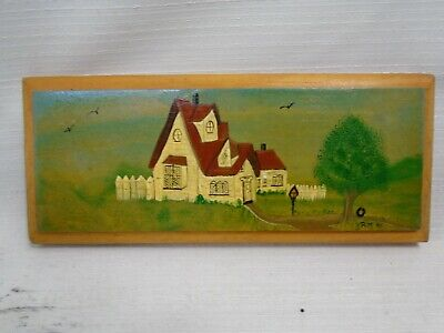 Nova Scotia Folk Art Painting White Victorian Home With Tire Swing in Tree