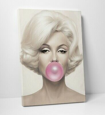 Marilyn Monroe Blowing a Big Pink Bubble Gum Canvas Art Print Framed --- C234