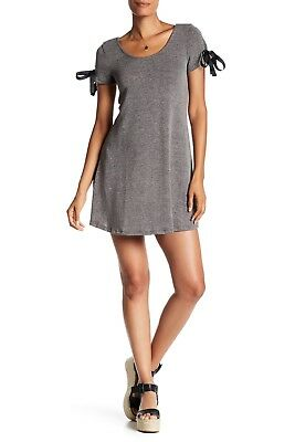 f70333df6345 NWT THE VANITY Room Dress Sz XL Lace Up Sleeve Swing Charcoal Gray ...