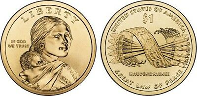 2010 P&D Native American Indian 1 Dollar Mint Coin Sacagawea Great Law Of Peace