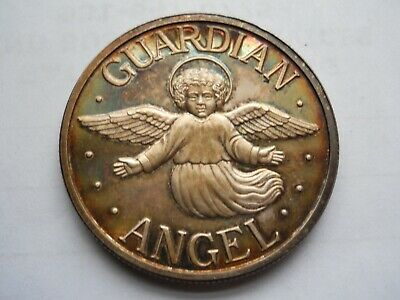 My Own Guardian Angel, 1 Troy Oz. .999 Fine Silver Coin, Nicely Toned.