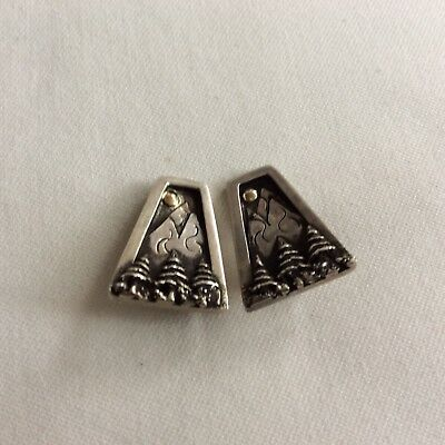 Sterling Silver Storyteller X-mas Theme Trees Mountains Moon Clip On Earrings