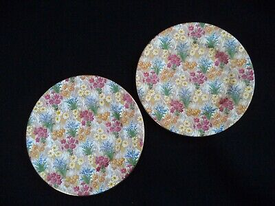 Chintz 2 floral luncheon plates 9in Marguerite by Royal Winton Grimwades England