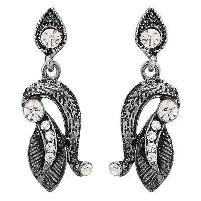 Afghani Tribal Beauty Earring Black Metal Silver Plated Cubic Zirconia Embedded