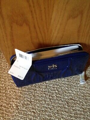 New Authentic Coach Leather Wallet in Blue