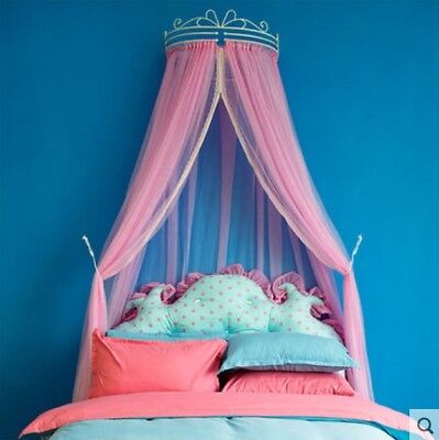 European Double Pink Yarn Ceiling Type Mosquito Net Bed Canopy Bed Curtain .