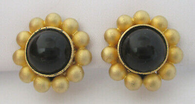 Vintage Goldtone/Black Cabochon Earrings