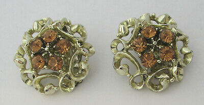 Vintage Topaz Rhinestone Earrings