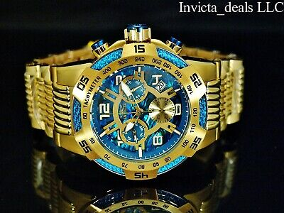 Invicta Men's 50mm Speedway Swiss Chronograph Blue ABALONE Dial 18K GP SS Watch