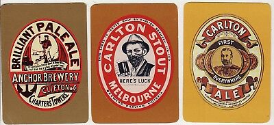 3 x AUSTRALIAN WIDE BREWERY ALE STOUT ADS  Single Vintage Swap/Playing Cards