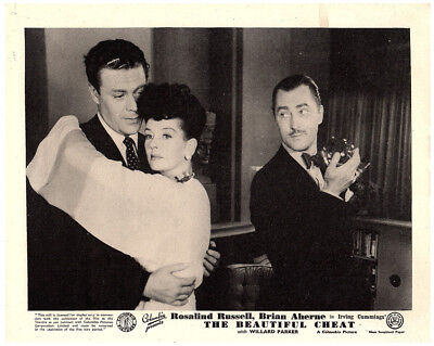 The Beautiful Cheat 1944 original 8x10 lobby card Rosalind Russell with 2 men