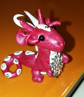 Miniature Dragon 3 cm tall and 4 cm wide. Magenta pearl.polymer clay