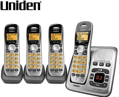 Uniden DECT 1735 + 3 Cordless Digital Phone System w/ Power Failure Backup - Sil