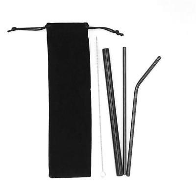 4Pcs Reusable Stainless Steel Metal Extra Wide Drinking Straw Straws + Brush bag