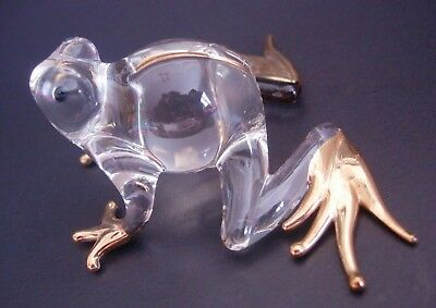 Glass FROG Clear Glass Gold Painted Glass Ornament Glass Animal Figure Gift
