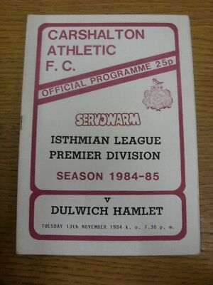 13/11/1984 Carshalton Athletic v Dulwich Hamlet  . Footy Progs are pleased to of