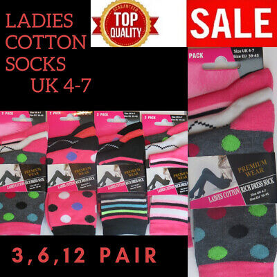 Ladies Girls Womens Cotton Rich Socks (  Size 4-7 )( 12 Pairs ) Pink Spots Line
