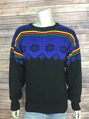 65beb3dd6 Vintage Meister Mens Sweater Size Medium Black Multi Ski Nordic Winter Wool  Knit