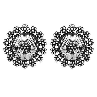 Tribal Ethnic Clip On Afghani Beauty Earring Silver Plated Armour Design Round