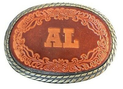 Vtg Leather Inlay Al Name Belt Buckle Alan Tooled Albert Western oval large 70s