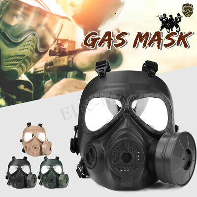 Airsoft Gas Mask Double Filter Fan Perspiration Dust Face Guard Breathable NEW
