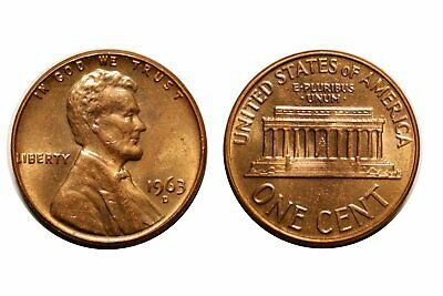 1963-D Lincoln Cent - Double Die # 1DO-022 Near Gem bu Red #316