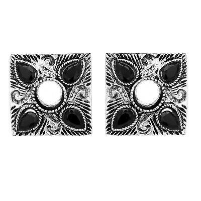 Tribal Afghani Clip Beauty Earring Black Stone Silver Plated Square Designer