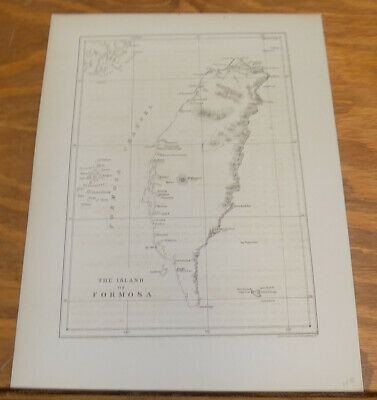 1856 Antique Map///THE ISLAND OF FORMOSA (TAIWAN)