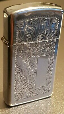 Pequeño Zippo lighter slim Venetian engraved on both sides high polish chrome
