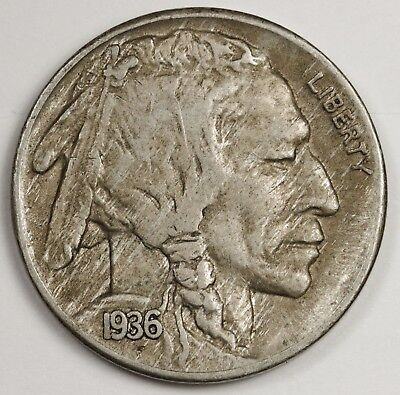 1936-s/s  Buffalo Nickel.  Error.  X.F.  123881