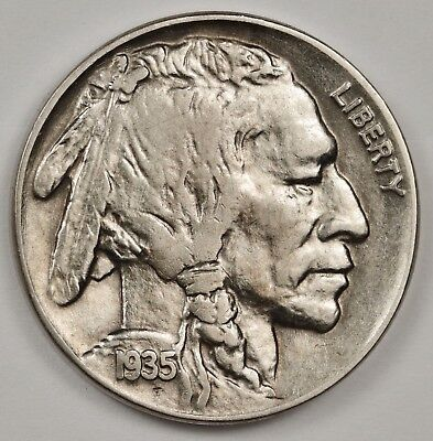 "1935 Buffalo Nickel.  Double Die Reverse. See ""V"" in ""FIVE"".  A.U.  120473"