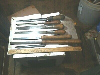 vintage antique lot (7) lg lathe wood cutting carving chisels