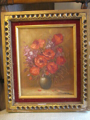 Vintage Oil on Canvas Poppies Signed by Artist
