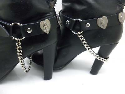 New Boot Straps Genuine Leather Heart Unisex Women Men Motorcycle Biker Pair