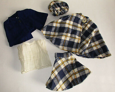 "Vintage 1950's 5pc Plaid Outfit For 17"" to 18"" Young Girl Dolls"