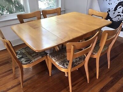 Mid Century Heywood Wakefield Erfly Drop Leaf Dining Table Set With 6 Chairs