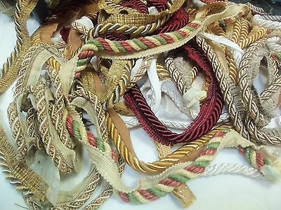 Huge Lot ( 3.5 lbs) Scrap Fabric Wrapped Rope Edging Assorted Lengths & Colors