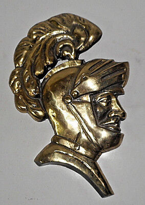 VINTAGE CAST WHITE METAL Medieval Knight Bust Wall Plaque BRASS COLOR FINISH