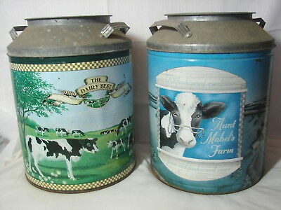"""2 Vintage MILK CAN COW TINS The Dairy Best & Aunt Mabel's Farm 13"""" Tall x10"""" Dia"""