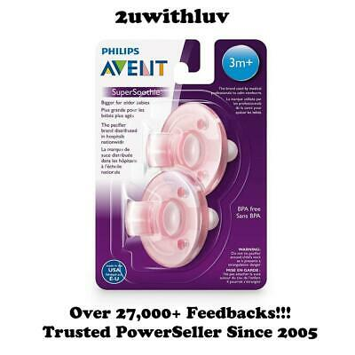Philips Avent Baby Soothie Pacifier 3 Months + Pink 2 Pack Bpa Free Made In Usa