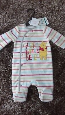 "BABY BOY GIRL - DISNEY'S ""WINNIE THE POOH"" - FLEECE SLEEPSUIT - Up to 1m"