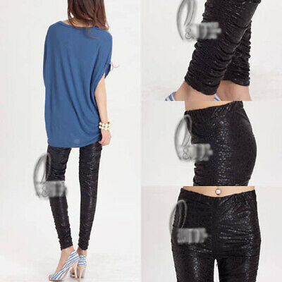 AU SELLER Front Ruffle Leather Look Dance Rockabilly Leggings Basic Pants p018