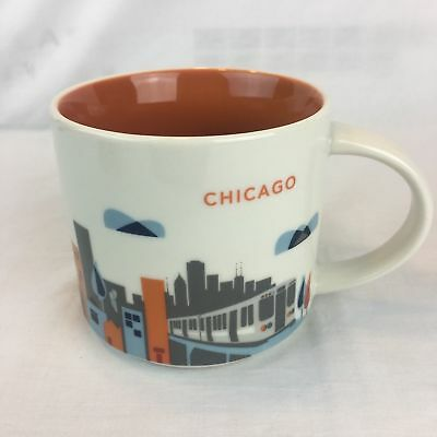 2012 CHICAGO ILLINOIS YOU ARE HERE CITY SERIES STARBUCKS COFFEE MUG CUP TRAM DCd