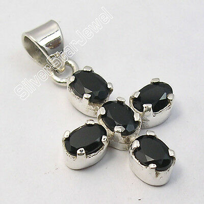 925 Pure Silver BLACK ONYX SEMI PRECIOUS GEMSTONES CROSS Pendant 3 CM 2.7 Grams
